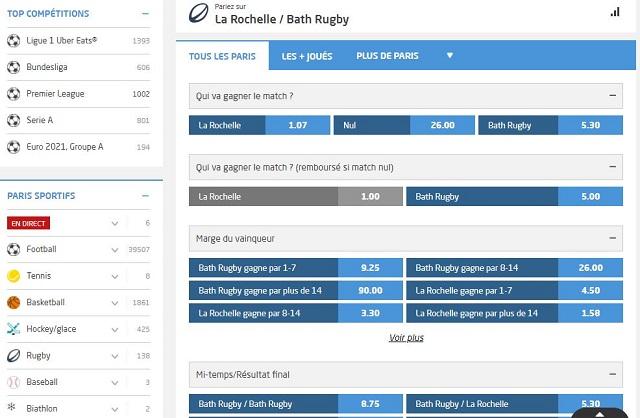 paris sportifs rugby