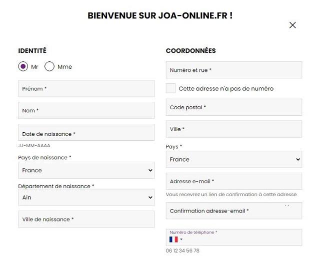 inscription joa online joabet
